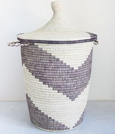 Oversized Grey Arrow Natural Banana & Palm Leaf Storage Basket
