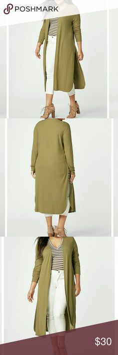 Plus Size Cardigan •NWT •Olive Green •Ribbed Knit Cardigan •Slits on the sides •Fabric Type: 49% Rayon, 46% Polyester, 5% Lycra •Size 1x •Retail $43 Sweaters Cardigans