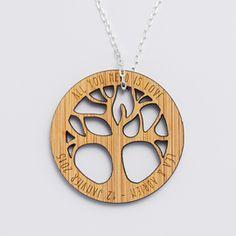 Pendentif personnalisé médaille gravée acrylique arbre de vie - prénom