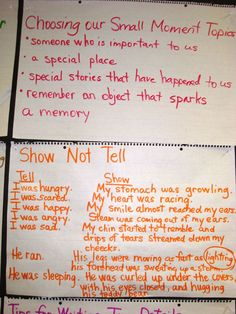 "Detailed writing vs. simplistic. Anchor Chart:  ""Show, not Tell."" For personal narratives."