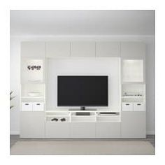 IKEA - BESTÅ, TV storage combination/glass doors, white, Lappviken light grey clear glass, The drawers have integrated push-openers so that you can open them with just a light push. The shelves are adjustable so you can customise your storage as needed. At Home Furniture Store, Modern Home Furniture, Tv Storage, Storage Spaces, Extra Storage, Tv Ikea, Tv Bench, Frame Shelf, Ikea Family