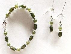Green Bracelet Olive Green Beads Olive Earrings Various