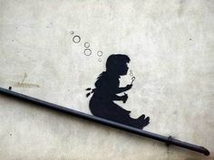 on a handrail street art