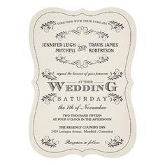 Shabby Chic Wedding Invitations Vintage Ornate Flourish White Wedding Invitations