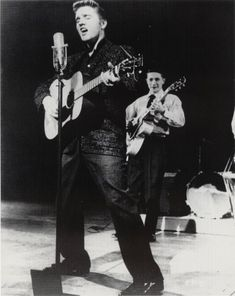 Elvis and Scotty (believed to be) Feb. 4, 1956 rehearsal - Scotty Moore - CBS Studio 50 Ed Sullivan Theater