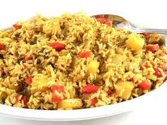 Pineapple Brown Rice. The skinny for 1 serving is only 95 calories, 1.8 grams of fat and 2 Weight Watchers POINTS PLUS