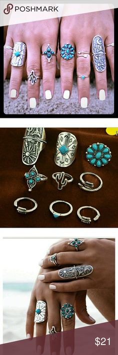 "Set of 9 Rings Turkish Silver Faux Turquoise Yes all 9 Rings for one price! This is a great set of 9 Turkish Silver rings, some with faux turquoise embellishments. Sizes range from 4 - 7. Longest ring is 1.5"" in height. Light weight, some adjustable.   Great bundle item to receive 20% discount and one shipping fee! Jewelry Rings"