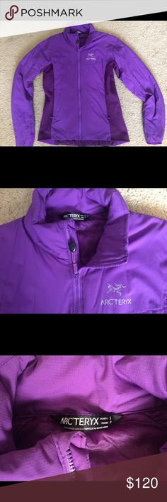 Arcteryx women's Atom Lt puffy jacket Arcteryx small purple synthetic puffy, super lightweight but super warm. Insulated mid-layer jacket with water and wind resistance. Perfect for wearing under a shell. Maybe worn twice, just hate the color and want something different. Stretchy material on the sides and semi-form fitting. No hood. I usually wear xs and this fits pretty perfect as I like things a little loose fitting. Arc'teryx Jackets & Coats Puffers