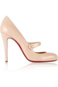 Heel measures approximately 100mm/ 4 inches Blush patent-leather Button-detailed elasticated front strap, round toe, signature red leather sole Slip on Come with replacement heel tips Designer color: Poudre