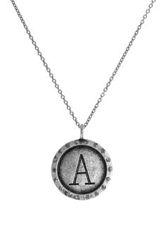 Sugar Bean Jewelry Distressed Pendant Necklace - More Letters Available