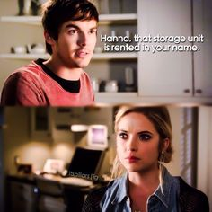"""#PLL 5x16 """"Over a Barrel"""" - Caleb and Hanna  And the lady saw a girl with blonde hair, Hanna has blonde hair...."""