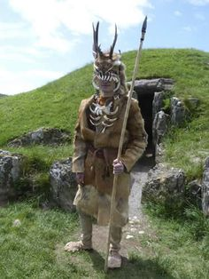 James Dilly of Ancient Craft wearing a replica of the Bad Durrenberg head-dress