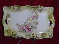 Antique-RS Prussia Red Star & Wreath China Double Handled Tray w/ Gilded Trim #RSPrussia