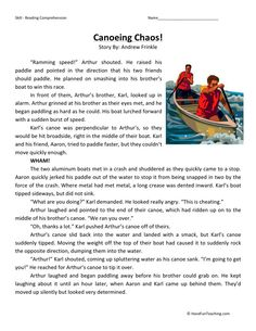 How to teach Reading Comprehension This Canoeing Chaos - Reading Comprehension Worksheet will help your students build their reading comprehension skills while reading about Arthur and Karl& canoeing adventure. 2nd Grade Reading Passages, 2nd Grade Reading Comprehension, 6th Grade Reading, Reading Test, Comprehension Activities, Reading Fluency, Reading Lessons, Reading Skills, Teaching Reading