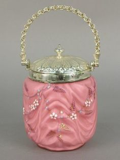 Victorian cracker jar, amethyst mold blo - May 2003
