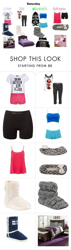 """""""Saturday Morning"""" by lovaticlov ❤ liked on Polyvore featuring Boohoo, Disney, Hello Kitty, X-Bionic, Charlotte Russe, Blugirl, John Lewis and Crate and Barrel"""