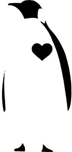 Penguin Heart Stencil by AlexisFobe