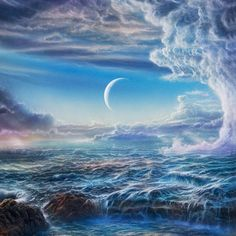 An illustration of what early earth might have looked like covered by an ocean. Cropped from 297 EarlyEarth by Don Dixon,  Fellow and founding member of the International Association of Astronomical Artists (IAAA). I love his illustrations. You can see more of his work here: http://cosmographica.com/dixonart/pages/gallery_10