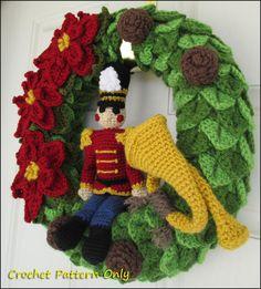 Nutcracker Toy Soldier Crochet Wreath Pattern by YarnovationsShop