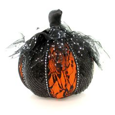 Halloween Orange W/Black Lace Pumpkin Med Halloween Decor