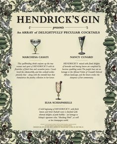 Hendrick's Gin created sublime signature cocktails for three 'Let's Bring Back' muses: Luisa Casati, Nancy Cunard, and Elsa Schiaparelli. Cocktail Club, Cocktail Making, Signature Cocktail, Nancy Cunard, Hendrick's Gin, Cucumber Juice, Elsa Schiaparelli, Hooch, Wine And Spirits