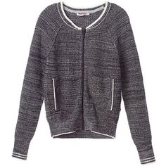Victoria's Secret Varsity Zip Sweater ($70) ❤ liked on Polyvore featuring tops, sweaters, print, victoria secret sweaters, pattern sweater, black sweater, zip sweater and cotton sweaters