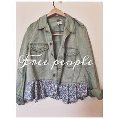 NWOT free people studded olive floral cargo jacket Brand new only worn once! Free people studded cargo jacket! Has studded pockets, floral detailing at bottom! Button up! Size medium! Really rare to find! No flaws! Super cute with ripped jeans and boots! Free People Jackets & Coats Utility Jackets