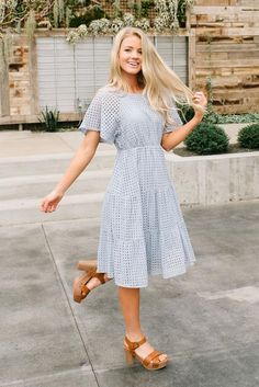 Embroidered midi dress - Adelaide midi eyelet dress in slate blue Modest Outfits, Modest Fashion, Dress Outfits, Cute Outfits, Midi Dress Outfit, Blue Midi Dress, Casual Midi Dress, Midi Dress Work, Fashion Dresses