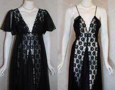 1980s Black Peignoir Set , Sexy Val Mode Nylon Lace nightgown, Chiffon Robe