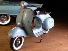 1961 Vespa Allstate VNA 125 with great original blue paint.