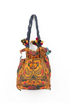 "Pom Pom Orange Birds Hill Tribe Tote Bag with Drawnstring Hmong Embroidered. Material : 100% Cotton, Fabric, Pompoms , Zip. N.B. YOU MAY NOT RECEIVE THE EXACT BAG PICTURED HERE, AS THE FABRIC DESIGN MAY VARY SLIGHTLY FROM BAG TO BAG. THE EMBROIDERED CLOTH IS NEVER DUPLICATED. THIS MAKES EACH BAG UNIQUE AND SPECIAL, BEING EMBROIDERED BY EACH INDIVIDUAL ARTISAN. Zip :Pompoms on zip. Zip : This bag has an outside zip closure and inside pocket with zip. Approximately Length:13"" (INCH)…"