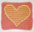 Peach Pink and Yellow Crocheted Baby Afghan Square With Heart Motif