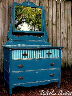 roughed up jeweltone blue with gold inside for a bookshelf Hand Painted Dressers, Vintage Dressers, Hand Painted Furniture, Distressed Furniture, Repurposed Furniture, Rustic Furniture, Antique Furniture, Decoupage Furniture, Find Furniture