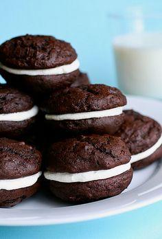 Homemade chocolate marshmallow whoopie pies