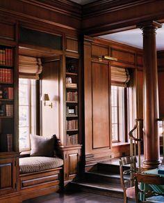 Home Library reading nook Traditional Interior, Classic Interior, Home Library Design, House Design, Home Libraries, Classic House, Office Interiors, Luxury Living, Interior Design Inspiration