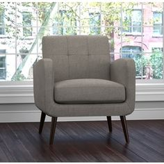Handy Living Kingston Mid Century Dove Grey Linen Arm Chair - Free Shipping Today - Overstock.com - 20345350