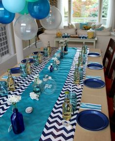 Possible color combo for alarik's under the sea birthday party Ocean Party, Shark Party, Ocean Baby Showers, Baby Boy Shower, Blue Birthday, Birthday Party Themes, 12th Birthday, Birthday Ideas, Blue Party Decorations