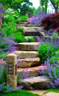 Stupenda scalinata rustica in pietra grezza è stata costruita in perfetta armonia con l'ambiente - Fiori e piante coloratissime