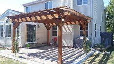 Porch With Pergola, Covered Pergola Patio, Gazebo Roof, Cedar Pergola, Pergola Attached To House, Outdoor Pergola, Pergola Plans, Diy Pergola, Diy Patio