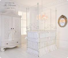 The Parisian 3 in 1 iron crib is the epitome of elegance.  Love this white on white nursery. baby crib | designer nursery | luxury crib