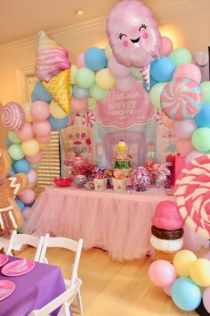 Whimsical Candyland Birthday Party - Pretty My Party - Party Ideas Candy Theme Birthday Party, Birthday Party Desserts, Birthday Party Centerpieces, Candy Party, First Birthday Parties, Candy Theme Centerpieces, Kids Birthday Decorations, 1st Birthday Themes Girl, Dessert Table Birthday