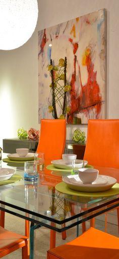 #art #orange #glasstable
