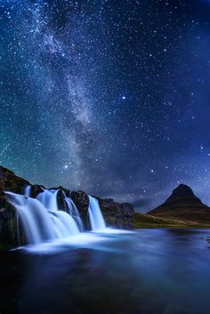 Milky way over Kirkjufellsfoss waterfall and Kirkjufell mountain on the Snæfell. Milky way over Kirkjufellsfoss waterfall and Kirkjufell mountain on the Snæfellsnes peninsula - west Iceland. Photography Tours, Nature Photography, Landscape Photography, Milky Way Photography, Night Photography, Landscape Photos, Beautiful Sky, Beautiful World, Photos Voyages
