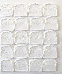 Chris Martin, White Bread, Acrylic and polymer medium on bread on wood, 24 x 20 in. Courtesy of the artist and Mitchell-Innes & Nash, New York. All White, White Art, Pure White, Snow White, White Light, Juan Sanchez Cotan, Things Organized Neatly, Non Plus Ultra, Chris Martin