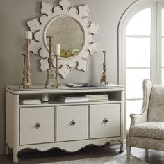 Bernhardt. Preview Fall 2013 HPMarket  >  Auberge Entertainment Console with linen wrap, twisted quatrefoil pulls, tiny nails. Auberge Mirror in soft Vintage White.