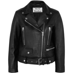 Acne Studios Leather biker jacket (€1.315) ❤ liked on Polyvore featuring outerwear, jackets, acne, coats & jackets, sweatter, black, shiny leather jacket, moto jacket, leather jackets and biker jacket
