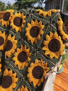 Items on Etsy that resemble Handmade Grandma Square sunflower afghan dorm room decor, graduation gift, cheerful bright gift for young and old, home decor, home warming Crochet Blanket Patterns, Crochet Stitches, Knit Crochet, Crochet Granny, Crochet Motif, Crotchet, Easy Crochet, Crochet Sunflower, Crochet Flowers