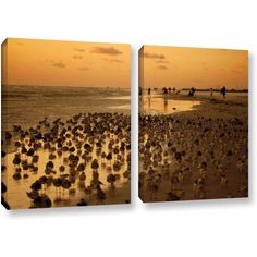 ArtWall Lindsey Janich Seagulls Iii 2-Piece Gallery-Wrapped Canvas Set, Size: 24 x 36, Brown