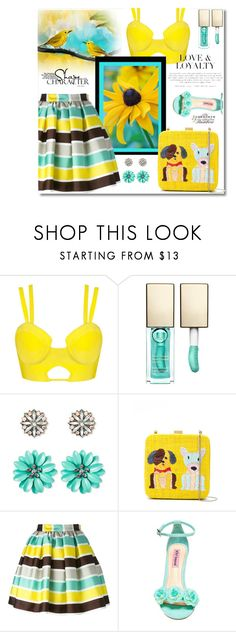 """""""Turquoise and Yellow"""" by neverboring ❤ liked on Polyvore featuring Clarins, SUGARFIX by BaubleBar, Serpui, MSGM, Betsey Johnson, summerstyle, turquoise, polyvoreeditorial and summerdate"""