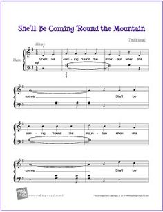 She'll Be Coming 'Round the Mountian | Free Sheet Music for Piano (Scheduled via TrafficWonker.com)